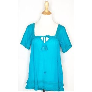 NWT LeTarte Blue Hand Embroidered Blouse s